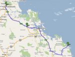 Route from Agnes Water-Rockhampton