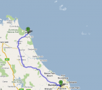 Route from Bundaberg-Agnes Water