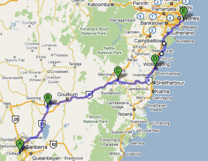 Canberra-Breadalbane-Moss Vale-Wollongong-Sydney