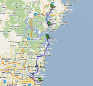 Sydney to Gosford route map