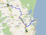 Route from Yandina-Gympie via Noosa